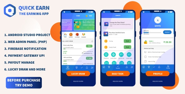 Quick Earn v1.5 – Play Fantasy Game Luky Draw With Paypal Payment Gateway