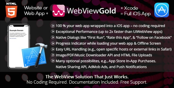 WebViewGold for iOS v7.2 – WebView URL/HTML to iOS app + Push, URL Handling, APIs & much more!