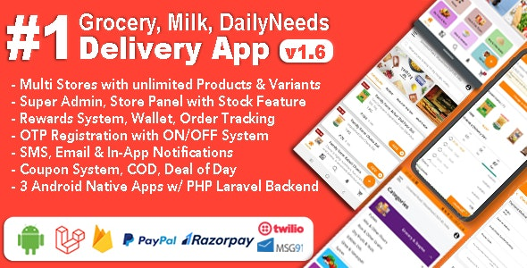 Grocery Milk v1.6 – DailyNeeds Store Delivery Mobile App with Admin Panel   Multi-Store with 3 Apps