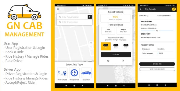 GN Cab Management v1.0.1 – Ionic Cab Booking, Taxi Booking Android & iPhone App, PHP Codeigniter